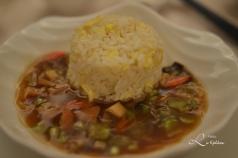 Vår 8 rettes middag på 5 stjernes restaurant - Stektris, kamskjell i kyllingkraft