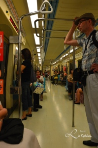 Inne i T-bane vogn.  Det reneste T-bane jeg har sett hittil