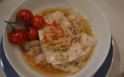 Dampet torsk med tofu i østersaus