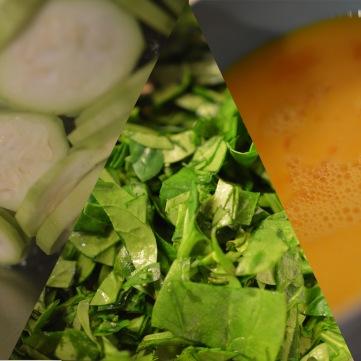 spinat, eggerør og squash til dampet egg