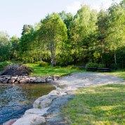 En sommerkveld på Badestrand på Hella, Svelvik, Norway